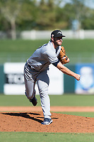 Peoria Javelinas relief pitcher Brandon Lawson (47), of the Milwaukee Brewers organization, follows through on his delivery during an Arizona Fall League game against the Surprise Saguaros at Surprise Stadium on October 17, 2018 in Surprise, Arizona. (Zachary Lucy/Four Seam Images)