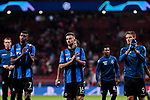Club Brugge's (L-R) Wesley Moraes, Siebe Schrijvers and Jelle Vossen greet fans during UEFA Champions League match between Atletico de Madrid and Club Brugge at Wanda Metropolitano Stadium in Madrid, Spain. October 03, 2018. (ALTERPHOTOS/A. Perez Meca)
