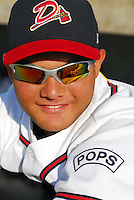 "June 18, 2008: Junior Rojas of the Danville Braves wears a patch on his sleeve honoring the memory of former coach Mel Roberts of Spartanburg, who died suddenly last fall. Roberts, was called ""Pops"" by the young players, some of whom were still in their teens. Roberts had been a longtime coach in the Atlanta Braves organization, and previously was manager of the Spartanburg Phillies. The Danville Braves are the rookie Appalachian League affiliate of the Atlanta Braves in Danville, Va. Photo by:  Tom Priddy/Four Seam Images"