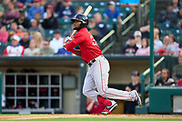 Worcester Red Sox Franchy Cordero (37) bats during a game against the Rochester Red Wings on September 3, 2021 at Frontier Field in Rochester, New York.  (Mike Janes/Four Seam Images)