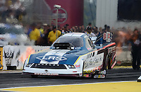 Sept. 28, 2012; Madison, IL, USA: NHRA funny car driver Tim Wilkerson during qualifying for the Midwest Nationals at Gateway Motorsports Park. Mandatory Credit: Mark J. Rebilas-