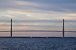 arthur ravenel jr bridge sunset pastel clouds