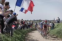 Tony Martin (GER/Katusha Alpecin) leading the pack over the cobbles of sector 25.<br /> <br /> 116th Paris-Roubaix (1.UWT)<br /> 1 Day Race. Compiègne - Roubaix (257km)