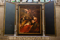 UK, England, Cambridge.  King's College Chapel,  The Adoration of the Magi, by Peter Paul Rubens, 1634.