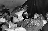 - NATO exercises AMF (Allied Mobil Force) in Norway, february 1986; a girl takes advantage of the presence of German field hospital to get the plaster removed from an injured arm<br /> <br /> - Esercitazioni NATO AMF (Allied Mobil Force) in Norvegia, febbraio 1986; una bambina approfitta della presenza dell' ospedale da campo tedesco per farsi togliere il gesso da un braccio infortunato
