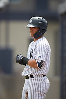GCL Yankees West center fielder Antonio Cabello (25) on deck during a game against the GCL Tigers West on August 10, 2018 at Yankee Complex in Tampa, Florida.  GCL Yankees West defeated GCL Tigers West 6-5.  (Mike Janes/Four Seam Images)