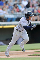 Center fielder Ezequiel Carrera (10) of the Columbus Clippers in a game against the Charlotte Knights on Saturday, June 15, 2013, at Knights Stadium in Fort Mill, South Carolina. Columbus won, 4-2. (Tom Priddy/Four Seam Images)