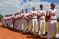 Illinois State Redbirds players stand for the national anthem before a game against the Michigan State Spartans on March 8, 2016 at North Charlotte Regional Park in Port Charlotte, Florida.  Michigan State defeated Illinois State 15-0.  (Mike Janes/Four Seam Images)