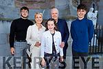 Éabha Duggan former student of Gaelscoil Mhic Easmann receiving her Confirmation in St John's Church on Saturday. L to r: Jack, Catherine, Éabha, Ian and Conor Duggan.