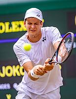 London, England, 5 July, 2019, Tennis,  Wimbledon, Hubert Hurkacz (POL)<br /> Photo: Henk Koster/tennisimages.com