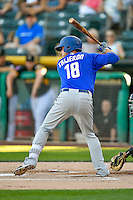 Travis Taijeron (18) of the Las Vegas 51s at bat against the Salt Lake Bees in Pacific Coast League action at Smith's Ballpark on June 19, 2016 in Salt Lake City, Utah. The 51s defeated the Bees 8-1. (Stephen Smith/Four Seam Images)