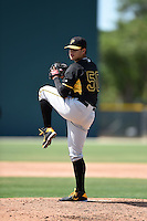 Pittsburgh Pirates pitcher Julio Vivas (50) during a minor league spring training game against the New York Yankees on March 28, 2015 at Pirate City in Bradenton, Florida.  (Mike Janes/Four Seam Images)