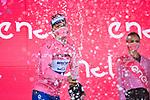 Race leader Joao Almeida (POR) Deceuninck-Quick Step retains the Maglia Rosa at the end of Stage 8 of the 103rd edition of the Giro d'Italia 2020 running 200km from Giovinazzo to Vieste, Sicily, Italy. 10th October 2020.  <br /> Picture: LaPresse/Massimo Paolone | Cyclefile<br /> <br /> All photos usage must carry mandatory copyright credit (© Cyclefile | LaPresse/Massimo Paolone)