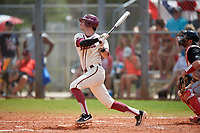 Saint Joseph's Hawks shortstop Matt Cuppari (23) bats during a game against the Ball State Cardinals on March 9, 2019 at North Charlotte Regional Park in Port Charlotte, Florida.  Ball State defeated Saint Joseph's 7-5.  (Mike Janes/Four Seam Images)