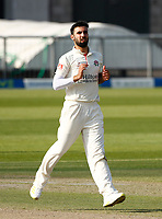 29th May 2021; Emirates Old Trafford, Manchester, Lancashire, England; County Championship Cricket, Lancashire versus Yorkshire, Day 3; Saqib Mahmood of Lancashire took the second Yorkshire wicket just before close of play