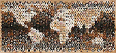 Kim, ANIMALS, REALISTISCHE TIERE, ANIMALES REALISTICOS, fondless, photos,+Montage of 592 dog head shots, in a mosaic of hexagons, forming a map of the world,++++,GBJBWP45251,#a#, EVERYDAY
