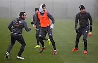 Fernando Llorente (C) with Leon Britton (L) and Gylfi Sigurdsson (R) in action during the Swansea City Training at The Fairwood Training Ground, Swansea, Wales, UK. Wednesday 22 February 2017