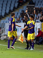 Thursday 08 August 2013<br /> Pictured: Ki SUng Yueng of Swansea (R) substituting team mate Michu (L)<br /> Re: Malmo FF v Swansea City FC, UEFA Europa League 3rd Qualifying Round, Second Leg, at the Swedbank Stadium, Malmo, Sweden.