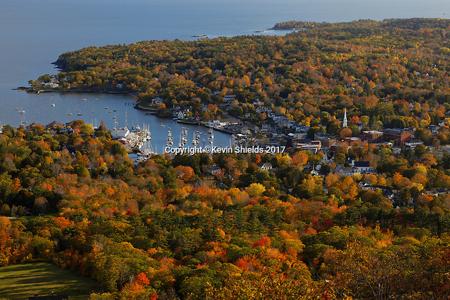 View of Camden from Mt. Battie, Camden Hills State Park, Knox County, Maine, USA