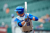 Troy Squires (16) of the Kentucky Wildcats at bat against the Houston Cougars in game two of the 2018 Shriners Hospitals for Children College Classic at Minute Maid Park on March 2, 2018 in Houston, Texas.  The Wildcats defeated the Cougars 14-2 in 7 innings.   (Brian Westerholt/Four Seam Images)