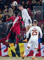 COLLEGE PARK, MD - NOVEMBER 15: Justin Gielen #9 of Maryland heads over Herbert Endeley #17 of Indiana during a game between Indiana University and University of Maryland at Ludwig Field on November 15, 2019 in College Park, Maryland.