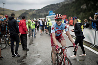 Pavel Kochetkov (RUS/Katusha - Alpecin) after finishing the stage where the weather turned foul in the finale<br /> <br /> Stage 9: Andorra la Vella to Cortals d'Encamp (94km) - ANDORRA<br /> La Vuelta 2019<br /> <br /> ©kramon