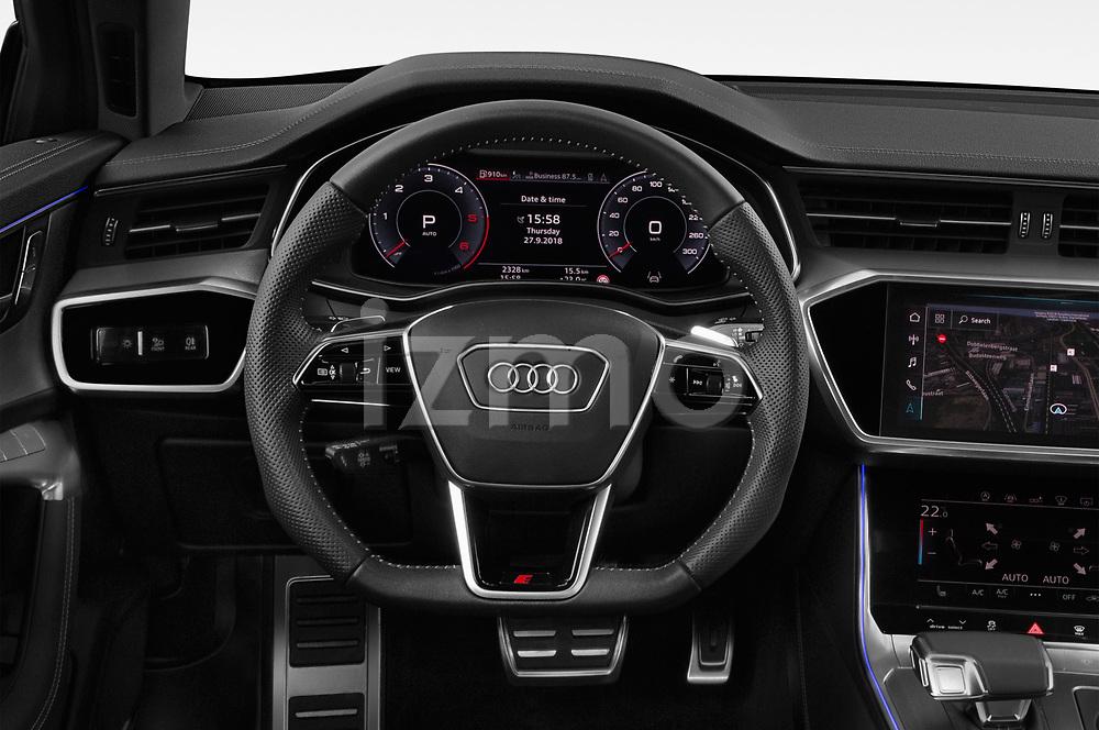 Steering wheel view of a 2019 Audi A6 Avant Sport 5 Door Wagon