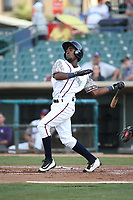 Wilson Soriano (6) of the Lancaster JetHawks bats against the Inland Empire 66ers at The Hanger on September 3, 2017 in Lancaster, California. Lancaster defeated Inland Empire, 5-4. (Larry Goren/Four Seam Images)