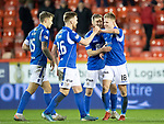 Aberdeen v St Johnstone…..05.02.20   Pittodrie   SPFL<br />Goal scorer Ali McCann celebrates at full time with David Wotherspoon, Liam Craig and Jason Kerr<br />Picture by Graeme Hart.<br />Copyright Perthshire Picture Agency<br />Tel: 01738 623350  Mobile: 07990 594431