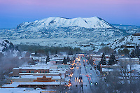 "Elk Mountain, better known as the ""Sleeping Giant"" watches over downtown Steamboat Springs, Colorado."