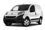 Stock pictures of low aggressive front three quarter view of 2017 Fiat Fiorino Pack 4 Door Car Van Low Aggressive