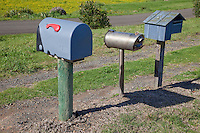 Rural Mail Boxes, near Opotiki, Bay of Plenty, north island, New Zealand.  Automobile Muffler being used as Mailbox.