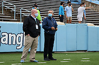 CHAPEL HILL, NC - OCTOBER 10: North Carolina Athletic Director Bubba Cunningham looks around the stadium before a game between Virginia Tech and North Carolina at Kenan Memorial Stadium on October 10, 2020 in Chapel Hill, North Carolina.