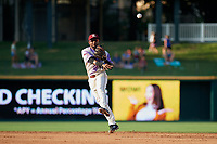 Frisco RoughRiders Yonny Hernandez (47) throws to first base during a Texas League game against the Amarillo Sod Poodles on July 13, 2019 at Dr Pepper Ballpark in Frisco, Texas.  (Mike Augustin/Four Seam Images)