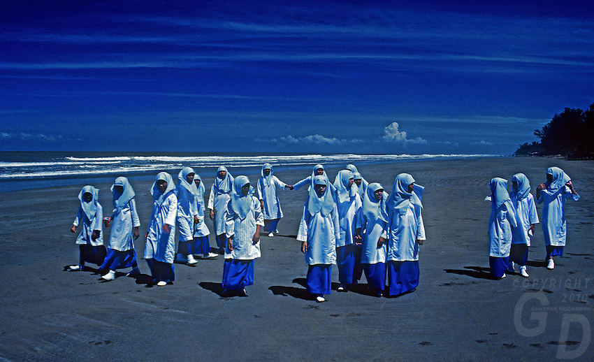 Muslim School Girls on an outing at a Beach in Brunei