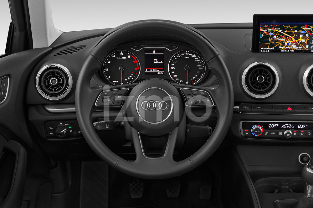 Steering wheel view of a 2019 Audi A3 Sportsportback Sport 5 Door Hatchback