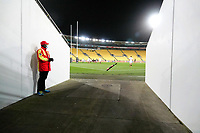 A Red Badge security guard watches the rugby match between North and South at Sky Stadium in Wellington, New Zealand on Saturday, 5 September 2020. Photo: Dave Lintott / lintottphoto.co.nz