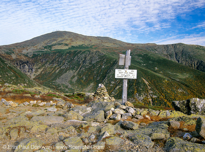 View from Boott Spur Trail in Sargent's Purchase of the White Mountains, New Hampshire. Tuckerman Ravine is on left with Mt Washington at the top and Huntington Ravine is on right. Tuckerman Ravine is named for Professor Edward Tuckerman, a botanist and early explorer of the White Mountains.