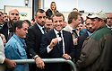 4/10/19 - COURNON - PUY DE DOME - FRANCE - Emmanuel MACRON, President de la Republique Francaise et son service d ordre en deplacement lors du 28e Sommet de l Elevage - Photo Jerome CHABANNE