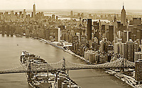 aerial photograph Queensboro Bridge, 59th Streeet Bridge, Roosevelt Island, Manhattan, New York City