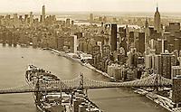 aerial photograph Queensboro Bridge, 59th Streeet Bridge, Roosevelt Island, Manhattan, New York City