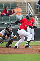 TJ Williams (8) of the Kannapolis Intimidators follows through on his swing against the Hickory Crawdads at CMC-Northeast Stadium on April 17, 2015 in Kannapolis, North Carolina.  The Crawdads defeated the Intimidators 9-5 in game one of a double-header.  (Brian Westerholt/Four Seam Images)