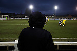 Chorley 2 Altrincham 0, 21/01/2017. Victory Park, National League North. A home supporter watching the action during the second-half at Victory Park, as Chorley played Altrincham (in yellow) in a Vanarama National League North fixture. Chorley were founded in 1883 and moved into their present ground in 1920. The match was won by the home team by 2-0, watched by an above-average attendance of 1127. Photo by Colin McPherson.