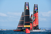 17th March 2021; Waitemata Harbour, Auckland, New Zealand;  Emirates Team New Zealand v Luna Rossa Prada Pirelli. Race 10, Day 7 of the America's Cup presented by Prada. Auckland, New Zealand, Wednesday the 17th of March 2021.