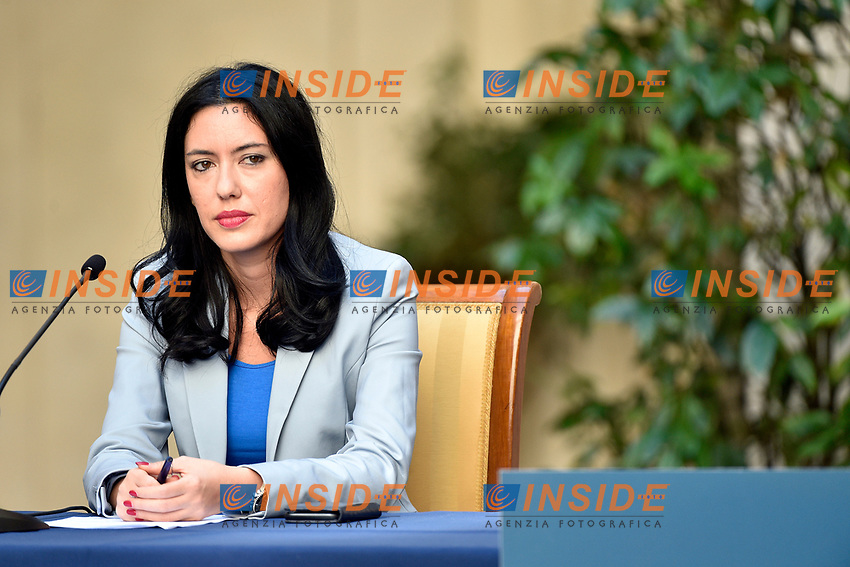 The Minister of Instruction Lucia Azzolina  during the press conference at Palazzo Chigi, about the measures to contrast the Covid-19 pandemic at the reopening of the schools on September 14th.<br /> Rome (Italy), September 9th 2020<br /> Photo Pool Paolo Tre Insidefoto