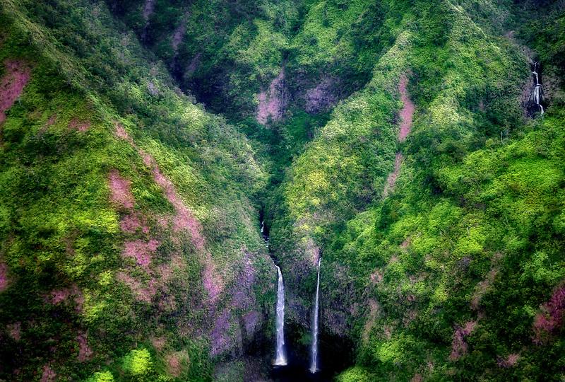 Waterfalls from the air. Kauai, Hawaii