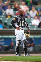 Rochester Red Wings catcher Carlos Paulino (17) during a game against the Toledo Mudhens on June 12, 2016 at Frontier Field in Rochester, New York.  Rochester defeated Toledo 9-7.  (Mike Janes/Four Seam Images)