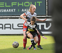 Justine Blave (22) of Eendracht Aalst and Lotte De Wilde (19) of Zulte Waregem pictured during a female soccer game between Eendracht Aalst and SV Zulte Waregem on the fourth matchday of play off 2 of the 2020 - 2021 season of Belgian Scooore Womens Super League , Saturday 1 st of May 2021  in Aalst , Belgium . PHOTO SPORTPIX.BE | SPP | DIRK VUYLSTEKE