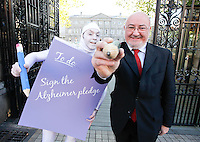 NO REPRO FEE. 18/10/2011. Cross partyTDs  to put aside party differences for Alzheimers. Cross party elected officials will join forces with a giant purple post it character outside the gates of Dail Eireann to remind elected officials to sign up to the Alzheimer Pledge to bring in a National Dementia Strategy for Ireland. Pictured is Caomghin O Caolin Sinn Fein spokesperson on health. Picture James Horan/Collins Photos
