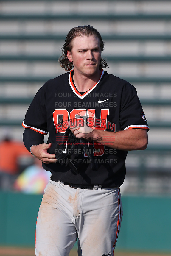Jerad Casper #15 of the Oregon State Beavers during a game against the Southern California Trojans at Dedeaux Field on May 23, 2014 in Los Angeles, California. Southern California defeated Oregon State, 4-2. (Larry Goren/Four Seam Images)